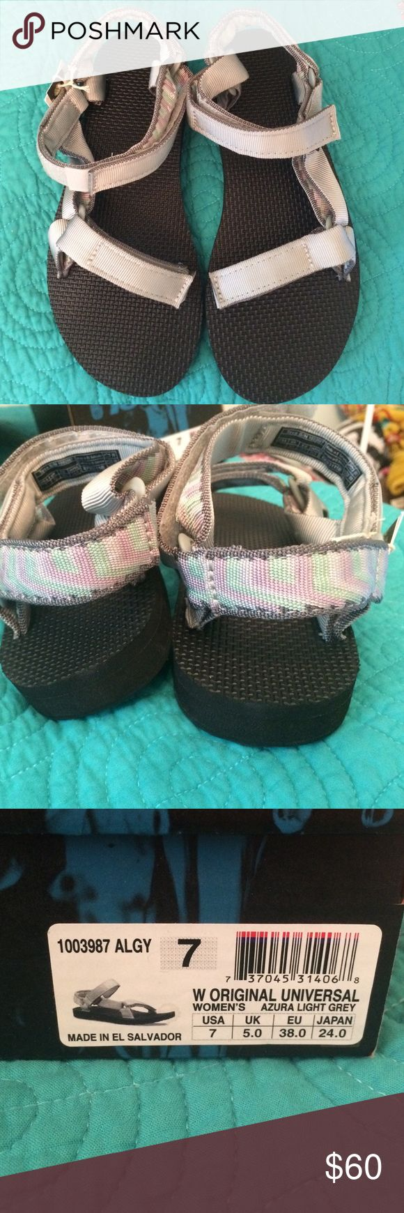 Women's tevas These are gray, with a blue/green and purple design on the back. Super cute, but I have no need because I have multiple pairs of chacos! Check out my closet for a bundle discount! Teva Shoes Sandals