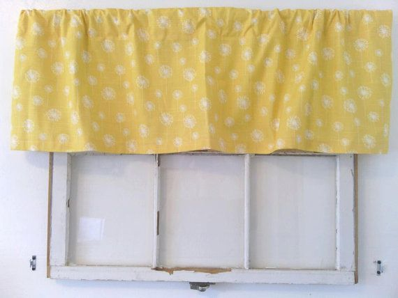 Yellow and White Small Dandelion Slub: One Valance (52 wide by 15 long) via Etsy