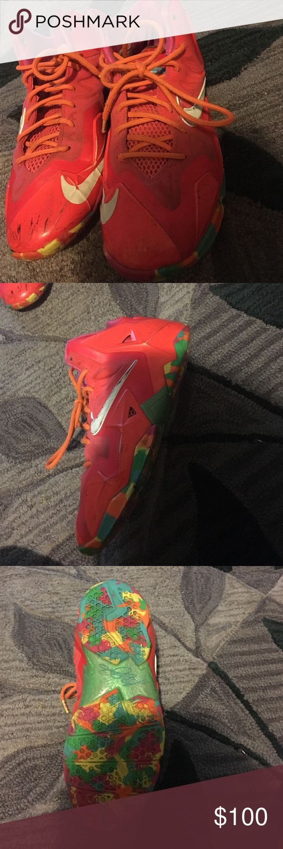 Lebron 11 fruity pebbles 100% authentic. Worn. Comes with out box. Dirty in picture but will clean before shipping Nike Shoes Sneakers