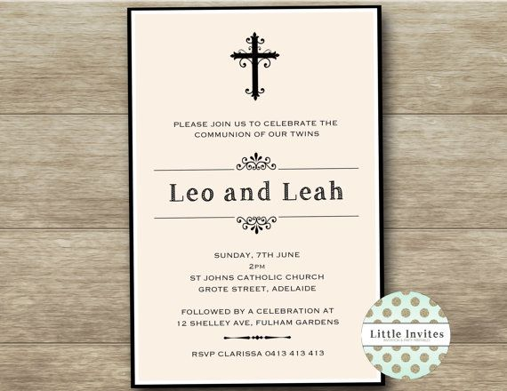 35 best Communion images on Pinterest First communion invitations - sample baptismal invitation for twins