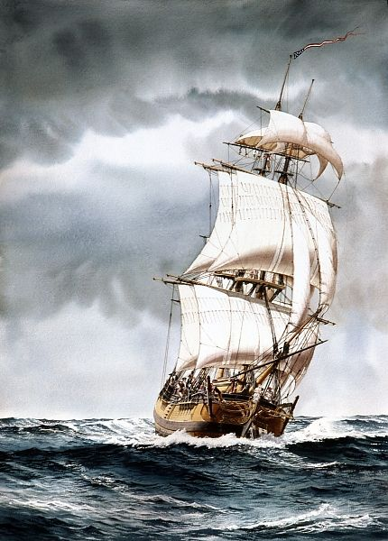 "SAILING SHIP ART IMAGES | COLUMBIA"" - Watercolor, in Sailing Ship Paintings"