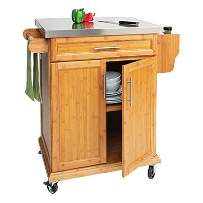 Small Bamboo Stainless Steel Top Kitchen Cart At Big Lots.