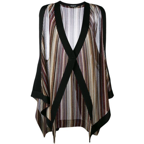 Balmain striped sleeveless cardigan ($1,470) ❤ liked on Polyvore featuring tops, cardigans, black, vertical stripe top, stripe top, sleeveless tops, multi color cardigan and v neck sleeveless top