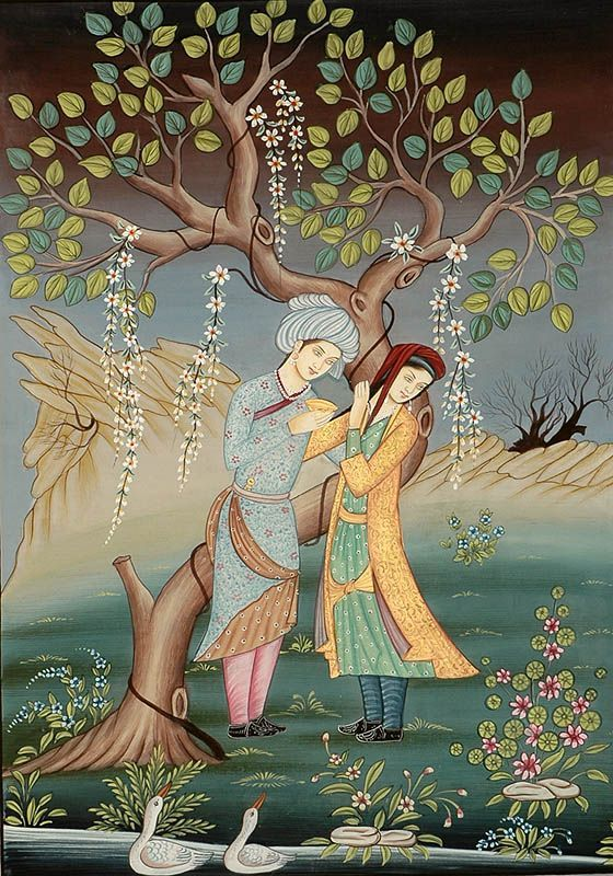 Persian Painting Couple. Beautiful words that evoke feelings of longing, passion, euphoria, and love.