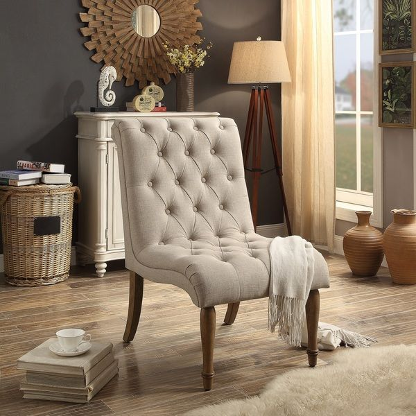 Iris Armless Collection Tufted Accent Chair- for living room, pair with an ottoman