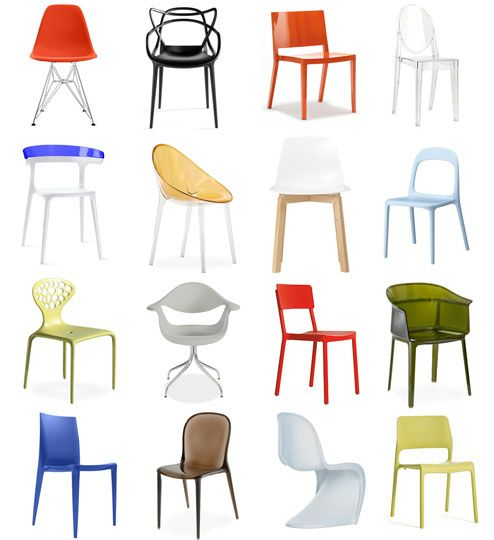 plastic chairs are back in style all around the word,the designs on the chairs are becoming more and more  interesting because the material is easy to bend