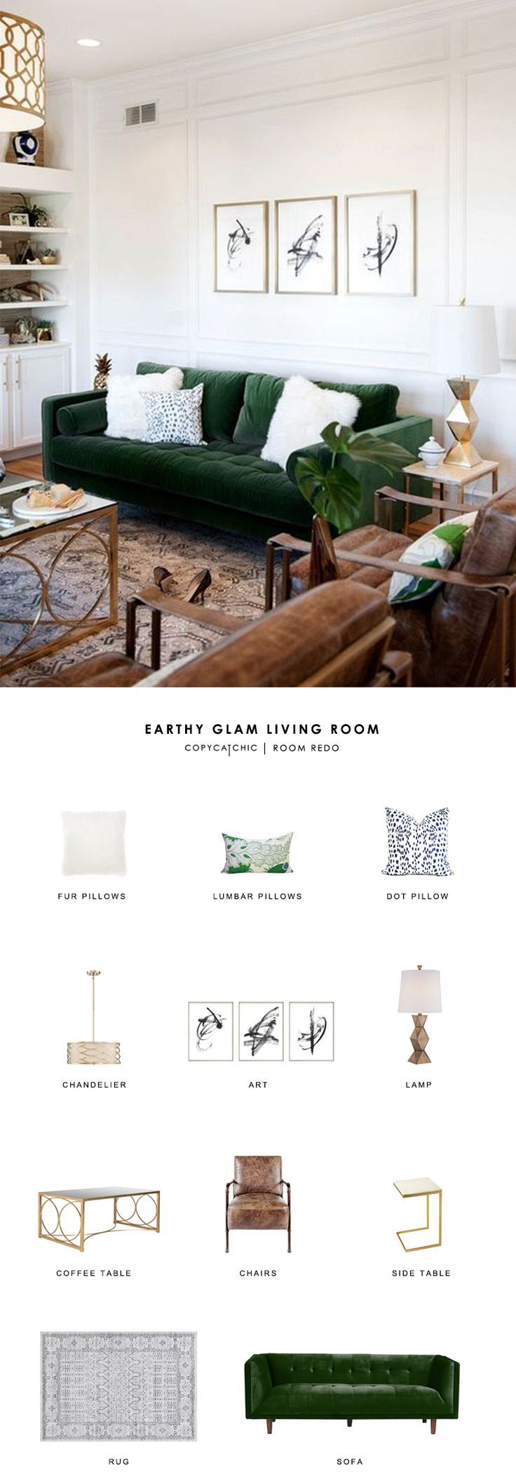 This earthy, glamorous, green living room by …