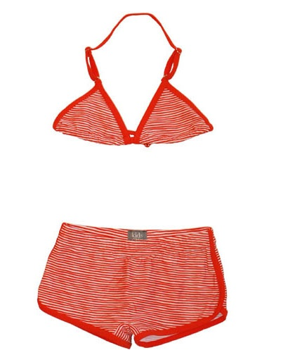 Red white striped bikini - Kidscase