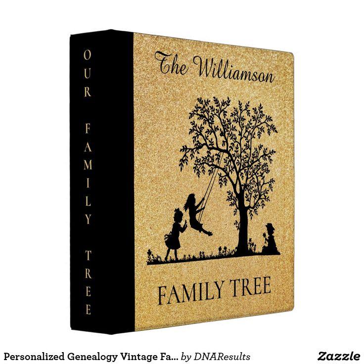 Personalized Genealogy Vintage Family Tree 3 Ring Binder