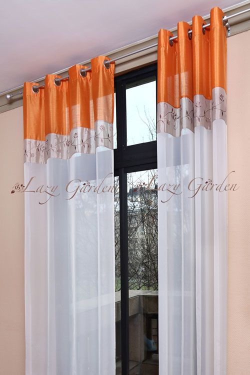 Free Shipping Eyelet, Embroidery Voile Window Curtains For Living Room,  European Style, Orange