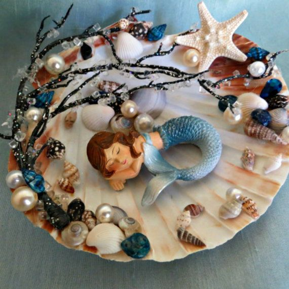 Mermaid decor_sleeping mermaid in by CarmelasCoastalCraft on Etsy