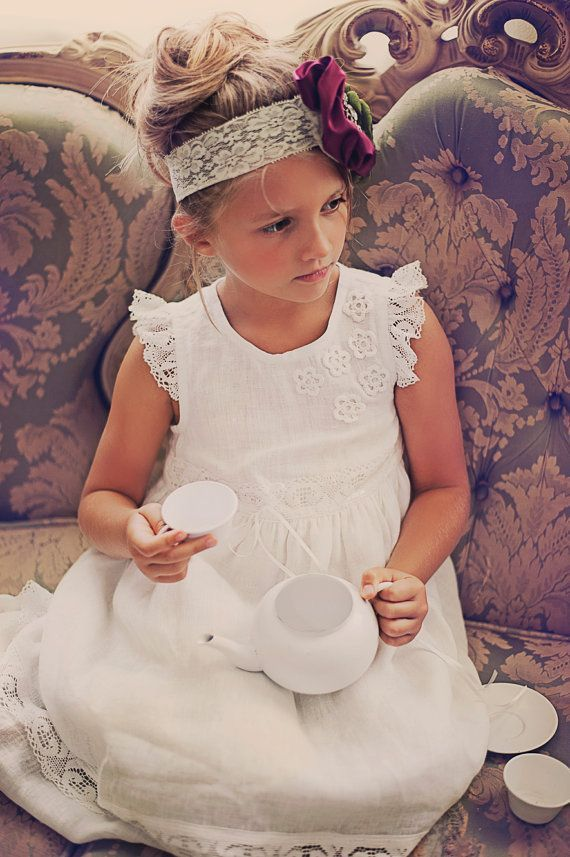 Vintage White Lace Flower Girl Dress