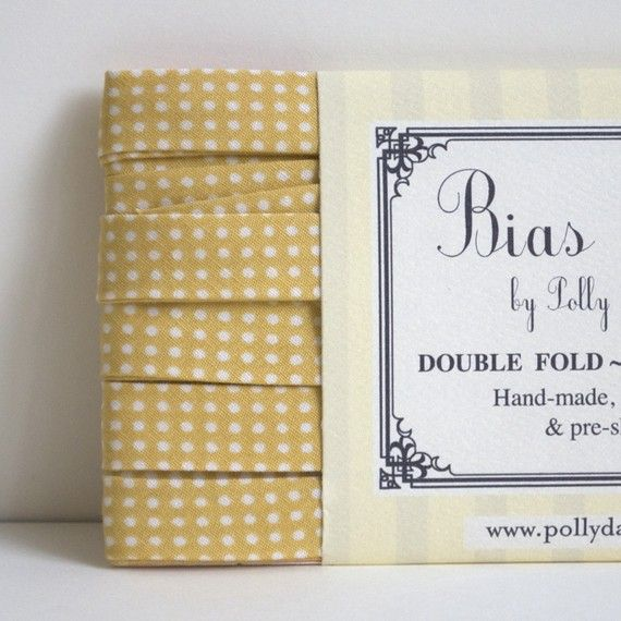 Polly Danger Notions - her products put the PERFECT finishing touch on my lovely quilts.: Bias Tape, Premade Polka, Polly Danger, Finish Touch, Fave Fabrics, Soft Yellow, Polka Bias, Danger Notions, Perfect Finish