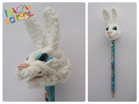 Loombicious 3D easter bunny pencil topper Rainbow Loom