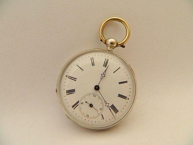 Visitate il mio negozio: http://www.ebay.it/sch/jumanantic/m.html Antico orologio da tasca argento funziona silver pocket watch working
