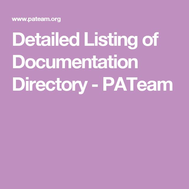 Detailed Listing of Documentation Directory - PATeam