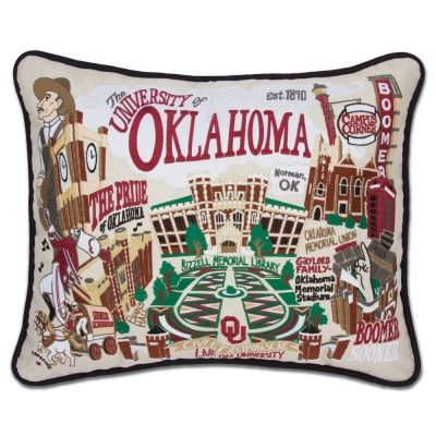OKLAHOMA, UNIVERSITY OF COLLEGIATE EMBROIDERED PILLOW