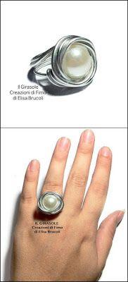 Anello in Wire argentato che avvolge una perla bianca
