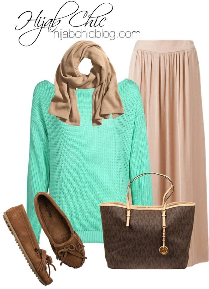 green mint meets brown #hijab chic #hijab outfit