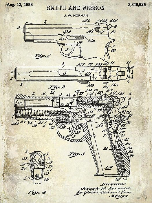 48 best technical drawing images on pinterest weapons hand guns 1958 smith and wesson firearm patent drawing photograph by jon neidert malvernweather Gallery