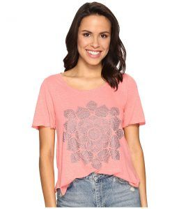 Lucky Brand Studded Lotus Tee (Shell Pink) Women's T Shirt