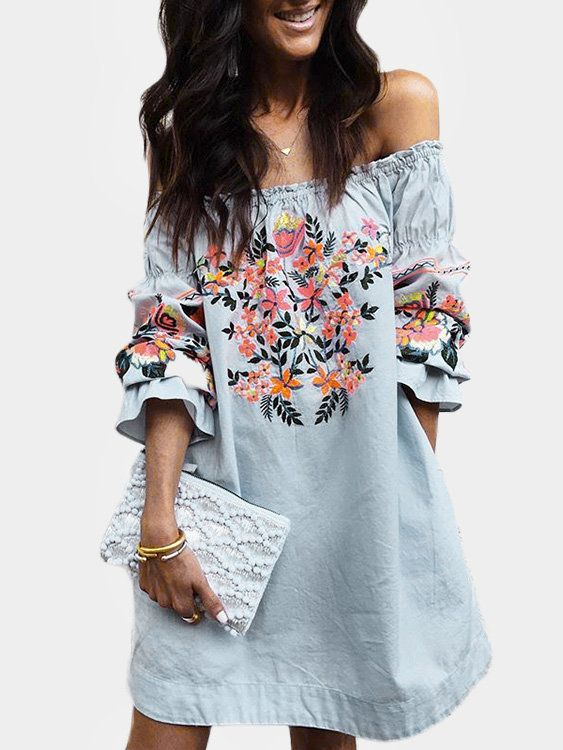 7f52534a9ad2a0 Blue Random Floral Print Off The Shoulder 3 4 Length Sleeves Dress ...