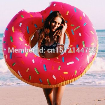 120 см диам.. 0.22 мм толщина экстра - толстый прочный гигантский водные виды спорта летних развлечений бассейн игрушки пончик надувной поплавок плавание кольца