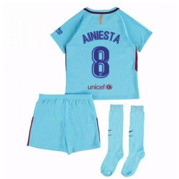 Barcelona Andres Iniesta 8 kläder Barn 17-18 Bortatröja Kortärmad  #Billiga #fotbollströjor