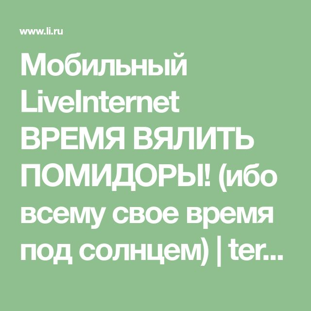 Мобильный LiveInternet ВРЕМЯ ВЯЛИТЬ ПОМИДОРЫ! (ибо всему свое время под солнцем) | terira01 - Дневник terira01 |