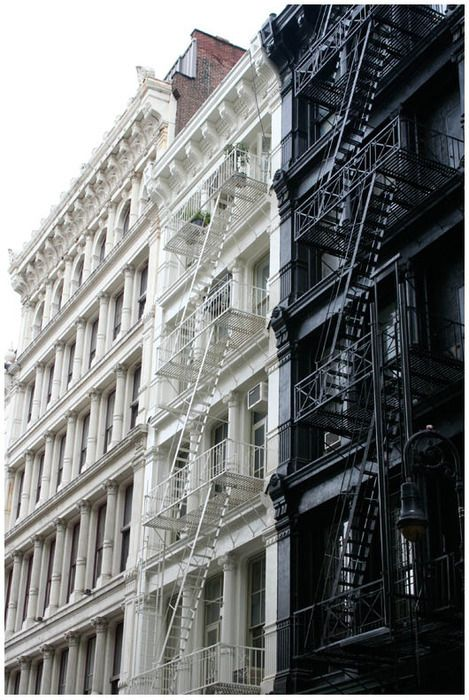 soho nyc: White Magic, Fire Escape, New York Cities, Lower Manhattan, Black And White, White Architecture, Black White, Old Building, Newyork