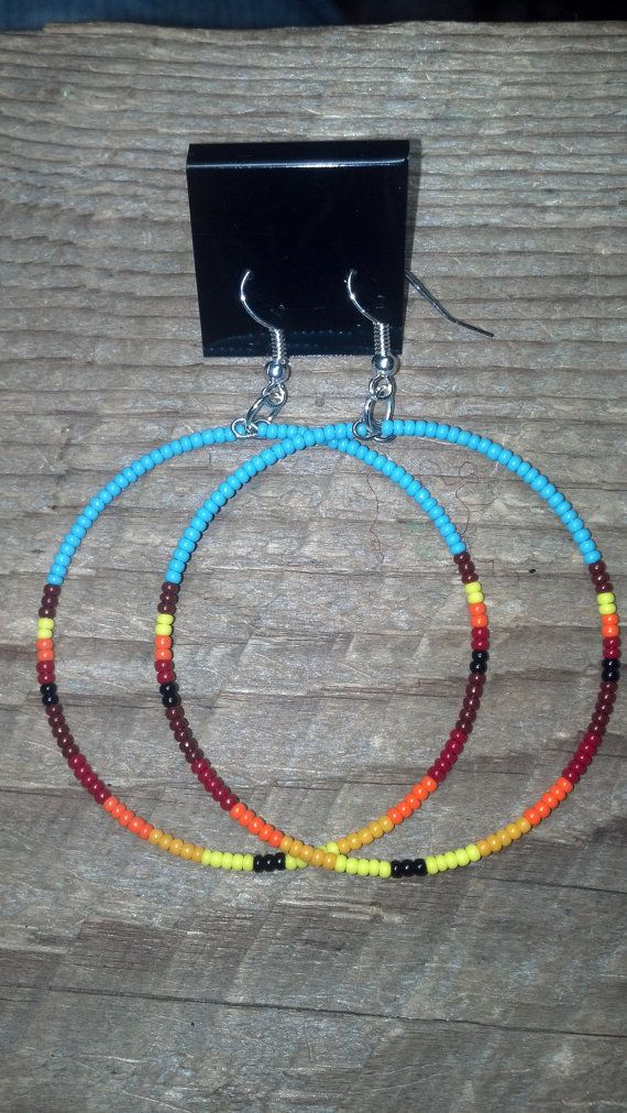 Native American Style Beaded Hoop Earrings by tredens82 on Etsy