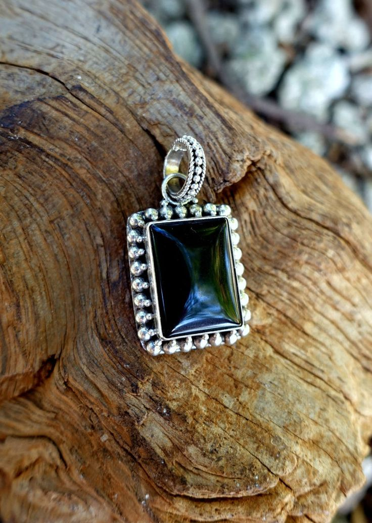 Onyx Pendant, Rectangle Necklace, Black Indian Necklace, Dark Amulet, Gift Under 40, Bali Amulet, Wicca Pendant, Aztec Pendant, Cowgirl by GypsyTraderTreasure on Etsy