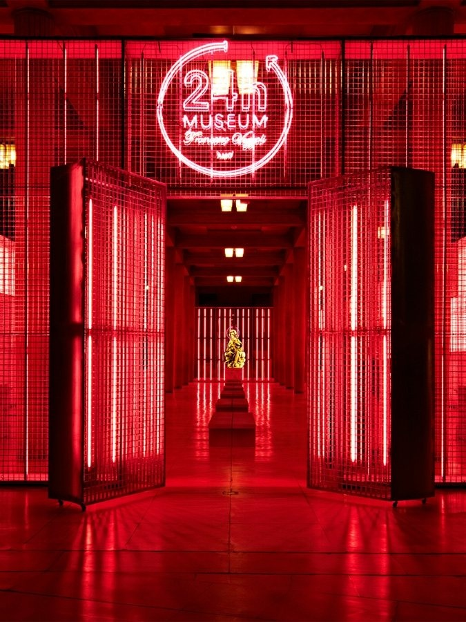 24h Museum red glow neon light
