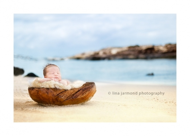 Newborn photography on the beach