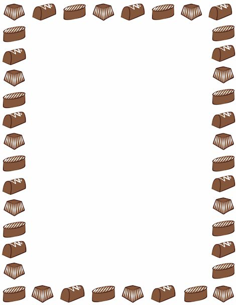 A page border featuring chocolate candy. Free downloads at http://pageborders.org/download ...