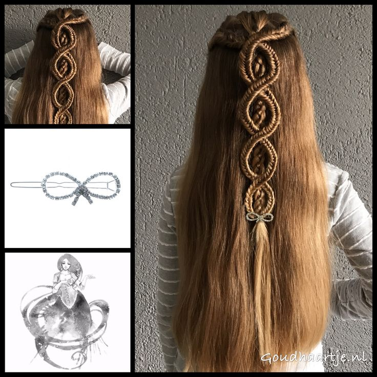 Fishtail braids with a four strand braid in the middle and a gorgeous hairclip from the webshop www.goudhaartje.nl (worldwide shipping). A part of this hairstyle is inspired by: @daphnes_hair_creations (instagram) #hair #haar #vlecht #vlechten #haircl