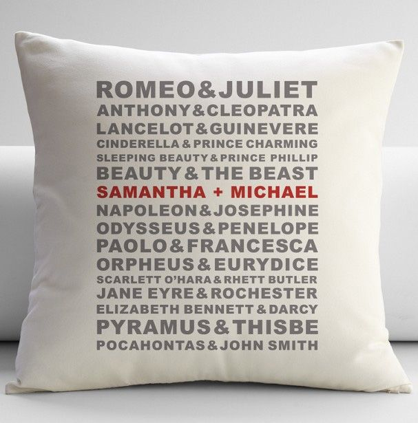 Kind of love this pillow, but I would need to customize it for my TV OTPs.  You know...Pacey & Joey. Kurt & Blaine. etc