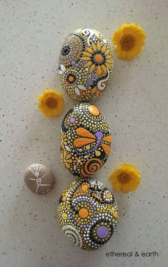 Hand Painted River Rock - Rock Art - Natural Home Decor - Nature Art - Mandala Inspired Design - Dragonfly Motif - Free US Shipping - ethereal & earth