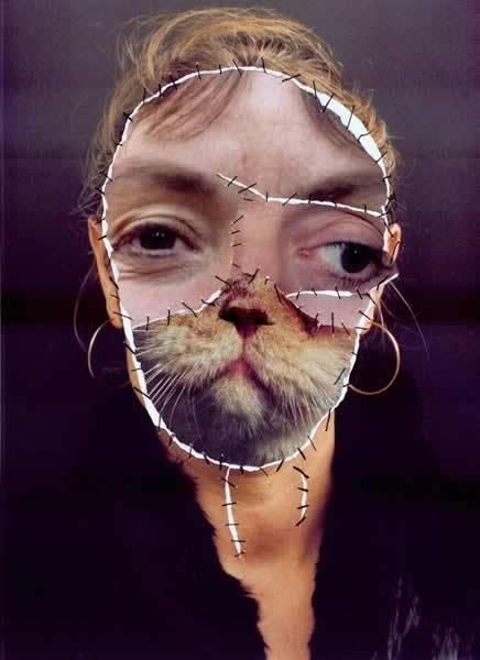Annegret Soltau using cut up pictures/materials to add disguise.