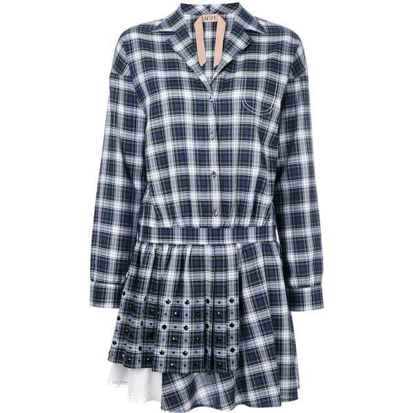 Nº21 tartan shirt dress ($959) ❤ liked on Polyvore featuring dresses, green, t-shirt dresses, long shirt dress, plaid dress, green shirt dress and long plaid shirt dress