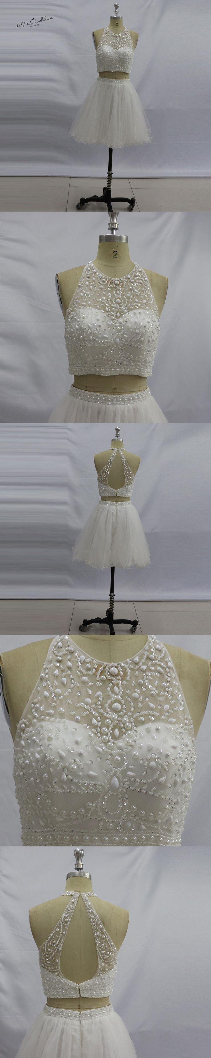 Ivory Luxury Cocktail Party Dress 2017 Beaded Two Piece Prom Dresses Knee Length Homecoming Dress Vestidos de Gala Curto China