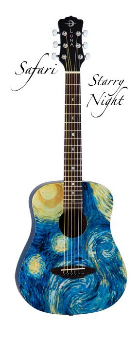 Simply gorgeous Luna Guitar depicting the famous painting, Starry Night by Vincent Van Gogh.