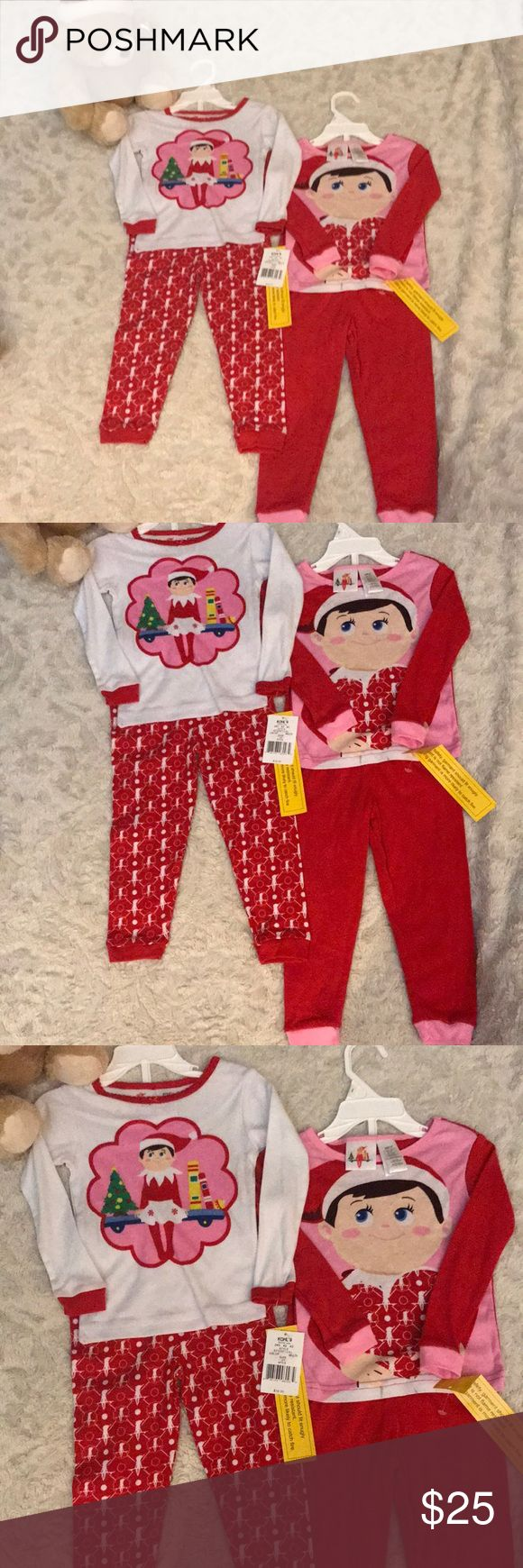 The Elf on The Shelf 2 Pajama Sets Sz 3T New with tags  Holiday Pajamas 2 sets  4 pieces 2 Pants and 2 tops Size 3T  Color White and Red  Please check my other listings i can combine shipping for you  Location : Winter Box the elf on the shelf Pajamas Pajama Sets
