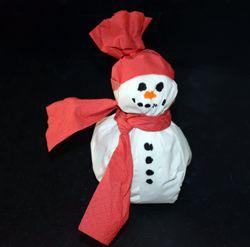 Schneemann aus Servietten basteln