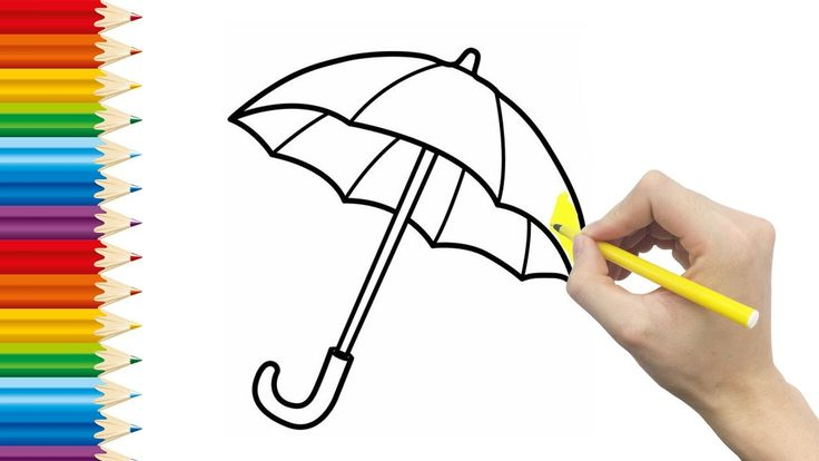 UMBRELLA Coloring page for KID and Learning How to Draw Umbrella - Videos for children