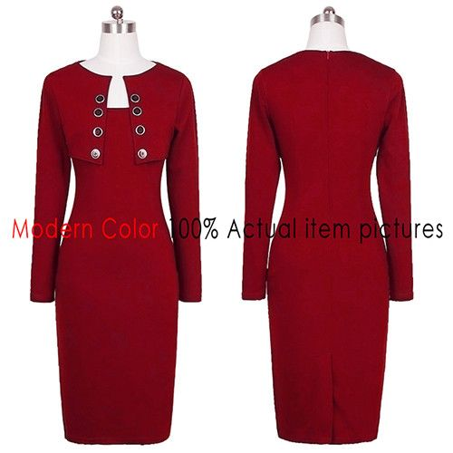 2016 Autumn Dress Women Fashion New Arrivals European Style Long Sleeve Dress Ladies Office Wear Knee Length Dresses With Button