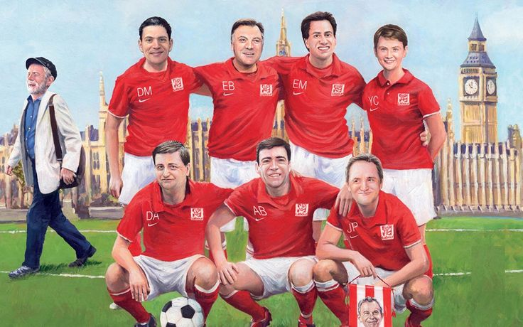 Illustration of Ed Miliband and co as footballers.