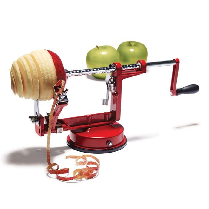 "Slice and core apples and pears, and even peel potatoes. Suction cup grips tabletop for added stability. 12"" L x 4 1/4"" W x 5 1/2"" H. Hand wash. Enamel, stainless steel. Imported."