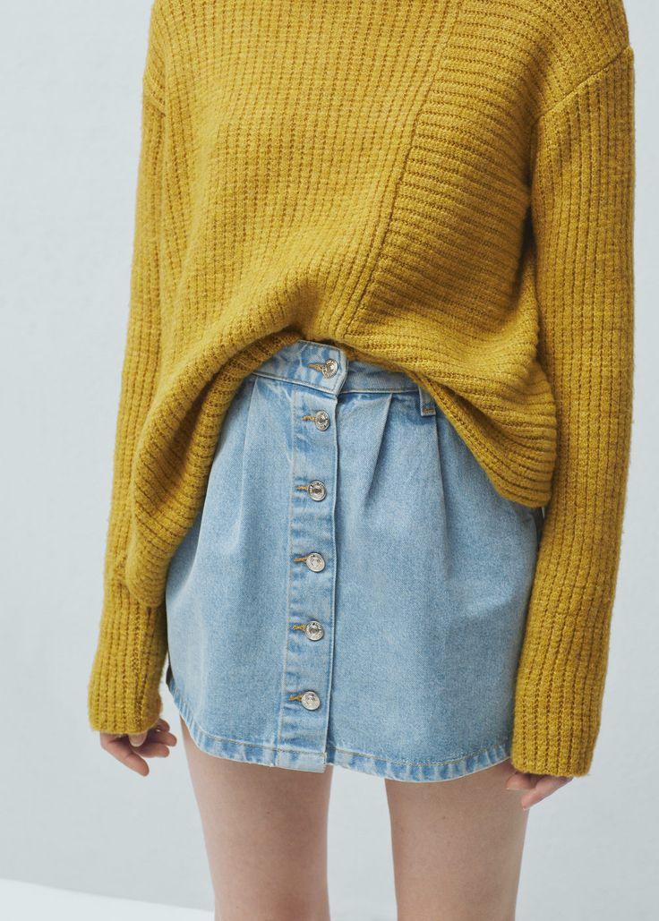 Denim rok met knopen - Rokken voor Dames | MANGO België