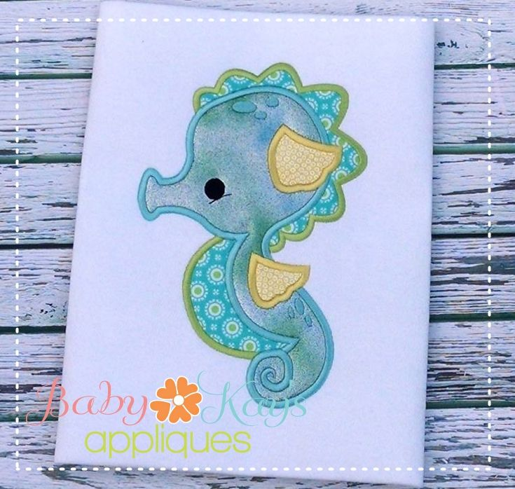 Baby Kay's Appliques - Baby SeaHorse 4x4, 5x7, 6x10, 8x8, $2.40 (http://www.babykaysappliques.com/baby-seahorse-4x4-5x7-6x10-8x8/)
